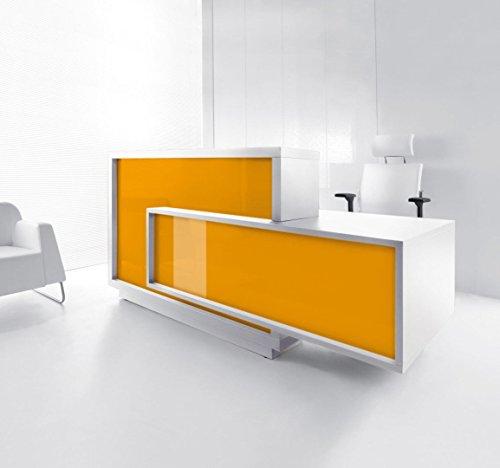 Empfangstheke FORO weiss-gelb Empfangstresen Rezeption Bürotheke