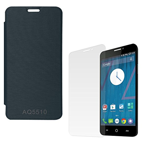 DMG Premium Hot Pressed PU Leather Flip Cover Case for Micromax Yureka Yu AQ5510 (Pebble Blue) + Matte Screen
