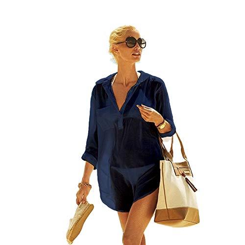 Frauen Kimono Bluse Beachwear Bikini vertuschen Bademode Badeanzug V-Ausschnitt Strand Badekleid und Kaftan Bluse für Damen (Dunkelblau, L) -