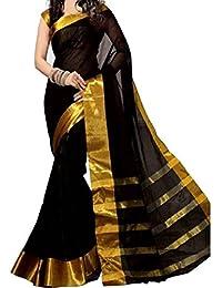 Kanchan Women Wedding Cotton Silk Printed Saree For Ladies & Girls (Black Kindle)