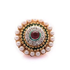 Saraa Green & Red Pearl Stone Borla For Women