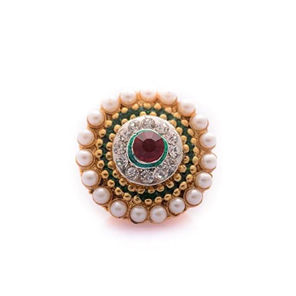 Saraa Green & Red Pearl Stone Borla For Women