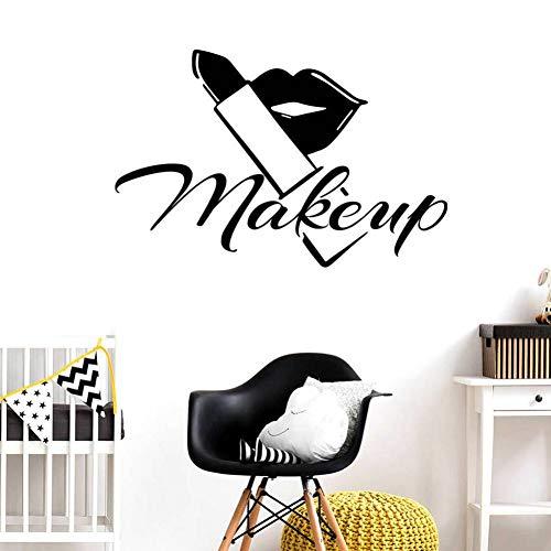 QWERGLL Wandaufkleber Wanddekoration Beauty Salon Raumdekoration Male Up Lips Home Decor Lippenstift Pinsel Wandaufkleber Room Decor