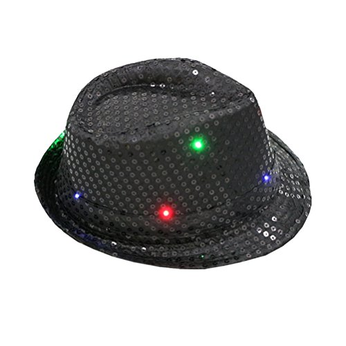 LUOEM LED Party Hut Jazz Hut Blinkende mit Pailletten für Silvester Party Kostüm Unisex Erwachsen (Schwarz)