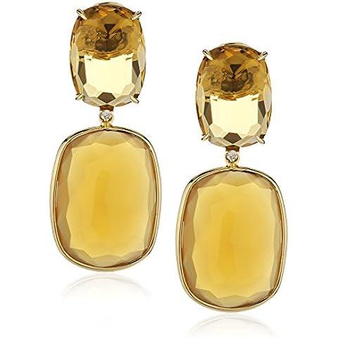 VIANNA BRASIL oro giallo 18 kt con quarzo citrino ct 0,024 e orecchini, con agata, colore: miele