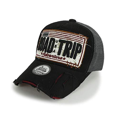 ililily Strasse Trip klassischer Stil abgenutztes Aussehen Snapback Trucker Cap Hut Baseball Cap, Black -