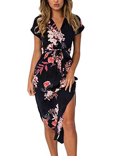 Womens Kleider Sommer Floral Maxi Kleid Print Tunika Split Casual Kurzarm Rock Kleider - Floral Print Sommer Kleid