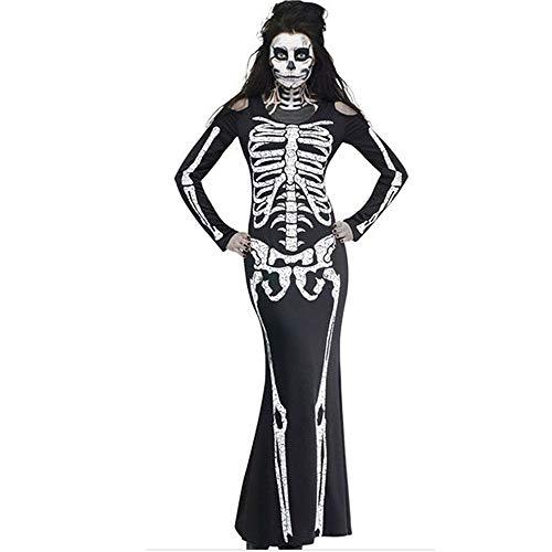 Uiophjkl Fancy Kostüm Erwachsene Frauen Skeleton Kostüm Lang Sleeved Tube Kleid Halloween Kleidung (Größe : S)