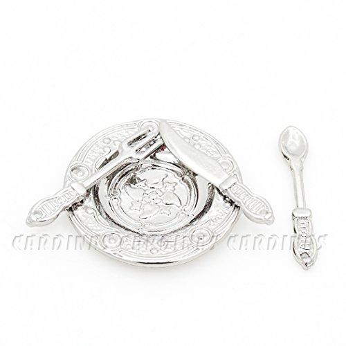 Odoria 1/12 Miniatur Geschirr Vintage Silber Besteck und Teller Set Für Puppenhaus Küche Zubehör (Vintage Küche Geschirr)