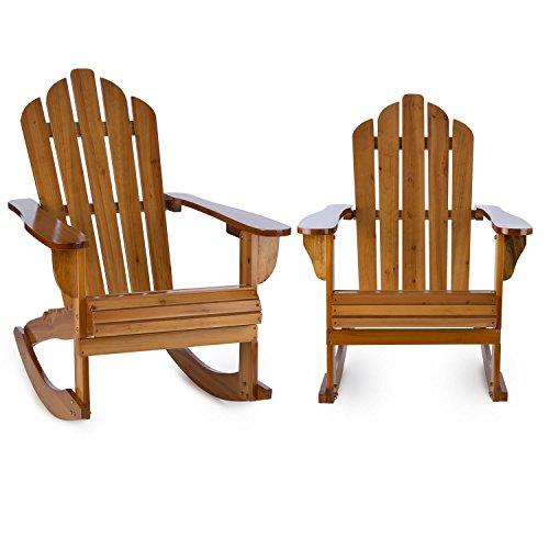 Blumfeldt Rushmore Schaukelstuhl Gartenstuhl 2er Set (max. 150 kg Belastung, geneigte Sitzfläche, hohe Rückenlehne, breite Armlehne, witterungsbeständig, Adirondack-Stil, Tannenholz) braun
