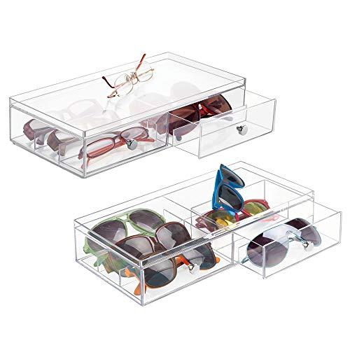 mDesign Aufbewahrungsbox für Sonnenbrillen, Lesebrille, Zubehör - 2 Geteilte Schubladen, Chrom-Ziehen, 2 Stück, transparent