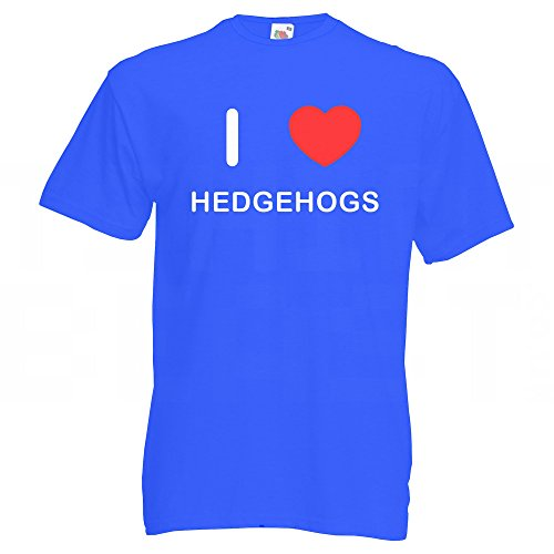 I Love Hedgehogs - T-Shirt Blau