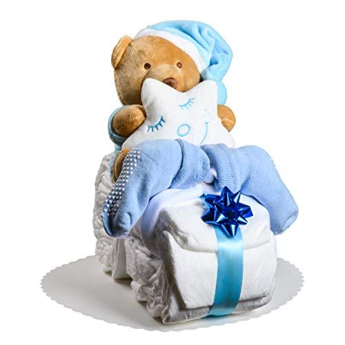 Windeltorte Motorrad in Blau oder Rosa mit Teddy-Spieluhr von Homery, perfekt als Geschenk für Junge oder Mädchen als Windelmotorrad zur Baby-Party oder Geburt - Handmade fair hergestellt