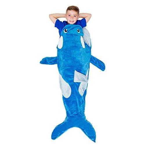 Cozy Snugs Schwanz Kid 's Orca Wal Schwanz Decke (Youth) Weich, warm Fleece | Sleep Säcken für Film Nacht, Übernachtungen, Camping | Mädchen und Jungen-blau -