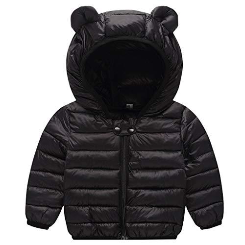 Bebé Chaqueta de Pluma Invierno Abrigo con Capucha Ligero Trajes Ropa de Calle Negro 2-3 Años