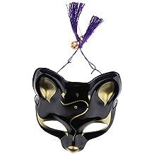 F Fityle Máscara Unisex Japonesa Zorro Media Cara PVC Halloween Cosplay Fiesta Confortable Suave Tacto Relajante