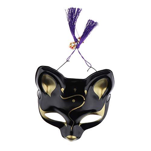 F Fityle Fox Makse Fuchs Japanische Kostüm Cosplay Halloween Spiel Party für Herren Damen Kinder - Schwarz