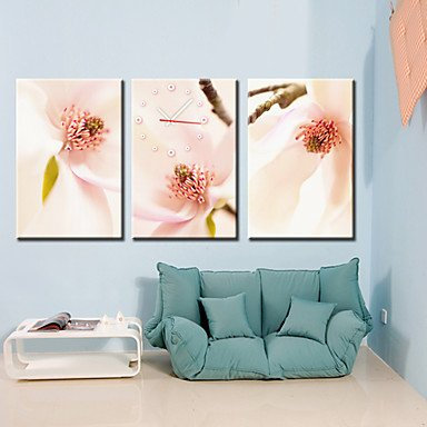 "13""-28\"" Country Style Peach Blossom Wall Clock In Canva 3pcs produced by LILAS - quick delivery from UK."