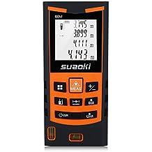 Suaoki S9 - 60m Telémetro láser, Medidor láser Metro láser de ±1.5mm Alta Precisión (Medidión individual, continua, min/max, área, volumen, pitágoras para la altura y área triangular, adición y sustracción)