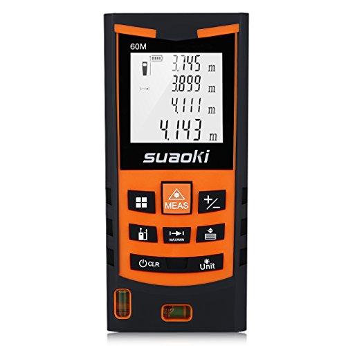 Suaoki S9   60m Telémetro láser, Medidor láser Metro láser de ±1.5mm Alta Precisión (Medidión individual, continua, min/max, área, volumen, pitágoras para la altura y área triangular, adición y sustracción)
