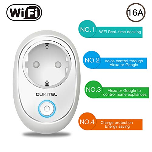 Enchufe Inteligente Wifi,  OUKITEL P2 Inalámbrico Smart Plug Mini Socket Interruptor de Enchufe Control Remoto Compatible con Alexa y Google Asistente,  para Android/iOS,  No se requiere Hub -  Blanco