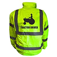 Tractor Driver Kids Hi Vis Yellow Bomber Jacket, Reflective High Visibility Safety Childs Coat, By Brook Hi Vis