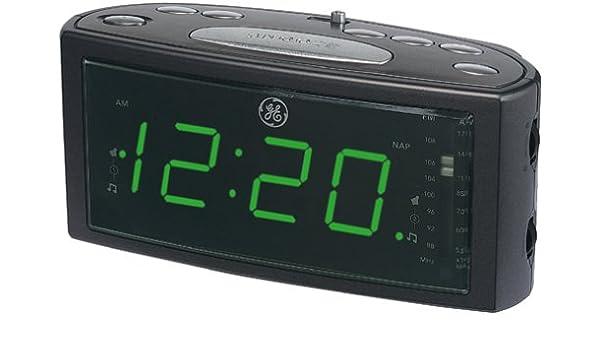 GE 74853 AM FM Clock Radio With 1 4 Green LED Dual Wake