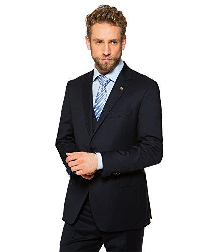 Marzotto - Modern Fit - Herren Baukasten Sakko aus Super 120'S Schurwolle, Ben AMF BK (999S-506-S), Größe:94;Farbe:Navy blue (Blazer Navy Button Wolle Blue)