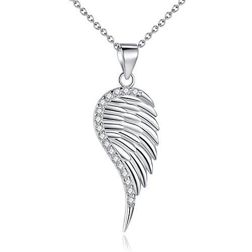 Ketten für Damen Sterling silber Engelsflügel Anhänger Halskette Zirkonia 45.7cm Kettenlänge Geschenk für Damen