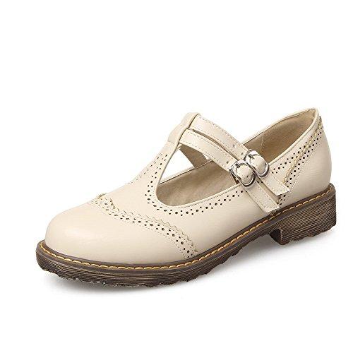 VogueZone009 Femme Boucle Rond à Talon Bas Pu Cuir Couleur Unie Chaussures Légeres Beige