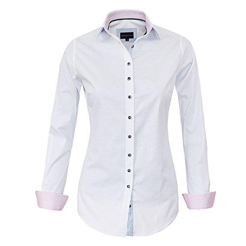 Baumwolle-seide-shirt Arbeiten (HEVENTON Bluse Damen Langarm in Weiß von Hemdbluse - Größe 34 bis 50 - Elegant und Hochwertig Farbe Weiß, Größe 50)