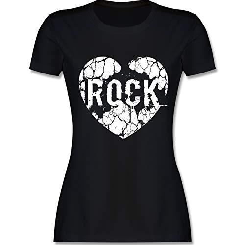 Festival - Rock bricht durchs Herz weiß - L - Schwarz - L191 - Damen Tshirt und Frauen T-Shirt