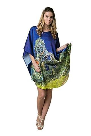 Prettystern - 100% impression numérique kimono de soie chemise de nuit van Gogh oeuvre - (Stampa Vintage Tunica)
