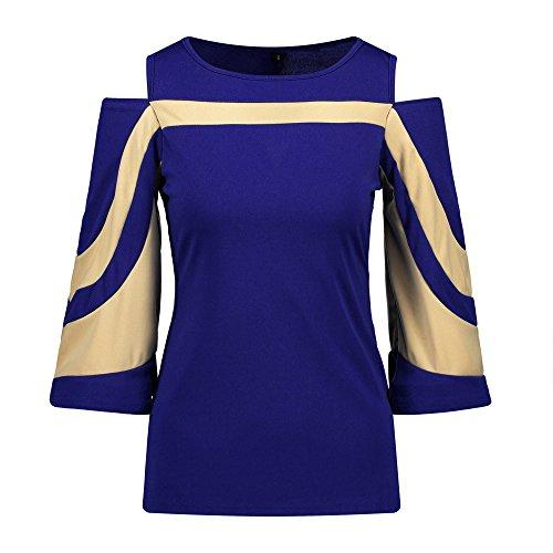 Topgrowth Donna Felpa con maniche lunghe Off Shoulder Top Pullover Camicetta Campana Manica Patchwork Elegante Camicia Blu