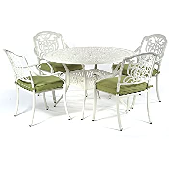 fa228a47fd57 BrackenStyle Cast Aluminium 4 Seater Round Dining Set in Speckled Egg Shell  white - 4 Seat Oval Metal Outdoor Dining Set with Chairs and Cushions.  (White)