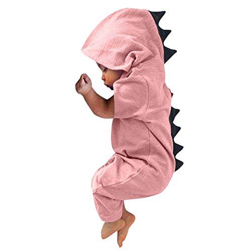 Kleider Kinderbekleidung Honestyi Neugeborenes Baby Jungen Mädchen Dinosaurier mit Kapuze Spielanzug Overall Ausstattungs Kleidung (3M 18M) Baby Kurzschluss Hülsen Dinosaurier Hintere (Roas,60)