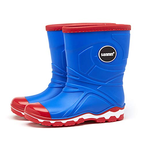 Boys Girls Wellies Rain Boots Kids Warm Lined Light Wellington Boots Unisex Children Winter Non-Slip Waterproof Snow Boots Size