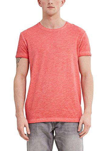 edc by ESPRIT Herren 047CC2K063 T-Shirt, Rot (Cherry Red 615), Large -