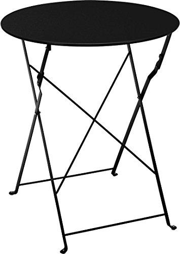 Metall Bistrotisch Ø 60 cm in schwarz - Platz sparend zusammenklappbarer Gartentisch / Beistelltisch