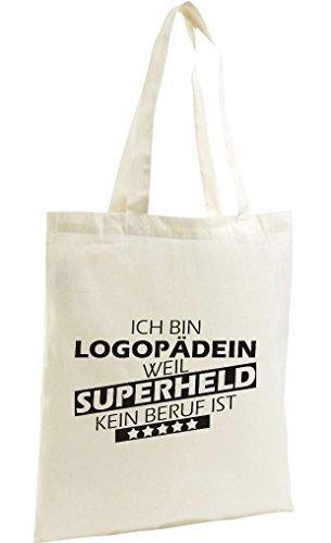 Shirtstown Shopping Bag Organic Zen, Shopper Ich bin Logopädin, weil Superheld kein Beruf ist, natur