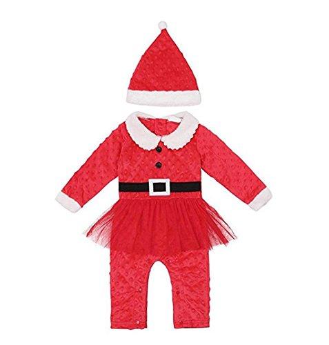 Weihnachts Baby Mädchen Kostüm Rot ❄ZEZKT Weihnachtsmann Overall mit Santa Hut Set Santa Claus Kleider Kleidung 0-18 Monate (80CM 6Monate, (Kleider Babys Für Santa Claus)