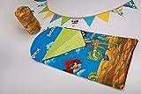 BabyBoom Schlafsack für Kleinkinder, Krippe, Kindergarten, Zuhause, Bettwäsche für Kinderbett - MINKY + Baumwolle - Gr. 75x145 cm mit integriertem, flachem Kissen (Angry Birds - Minky grün)