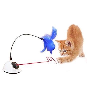 YGJT Jouet Interactif pour Chats- Lumière Mobile Rouge avec Plume Interactif Automatique Tournant 360 ° Irrégulier Plume Pet Entertainment Jouet d'Entraînement à l'Intelligence (Jouet pour Chats)