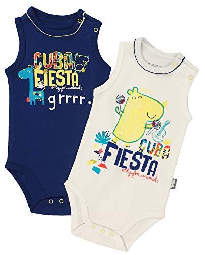 Petit Béguin - 2er Pack Baby Jungen Achselbody Cuba Fiesta Gr. 74 (9M) Fiesta 9