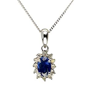 Ivy Gems 9ct White Gold Light Blue Sapphire And Diamond Cluster Pendant with 46cm Curb Chain