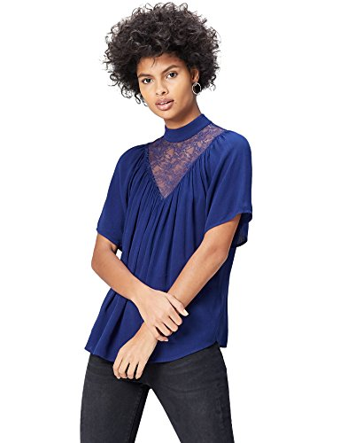 find. Lace Yoke, Blusa Para Mujer, Azul (French Blue), Medium