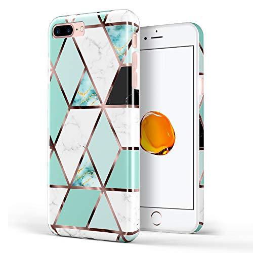 DOUJIAZ Schutzhülle für iPhone 7 Plus, iPhone 8 Plus, Marmor-Design, durchsichtig, TPU, weiches Silikon, Gummi, Schutzhülle für iPhone 7 Plus (2016) / iPhone 8 Plus (2017), Mint Grid