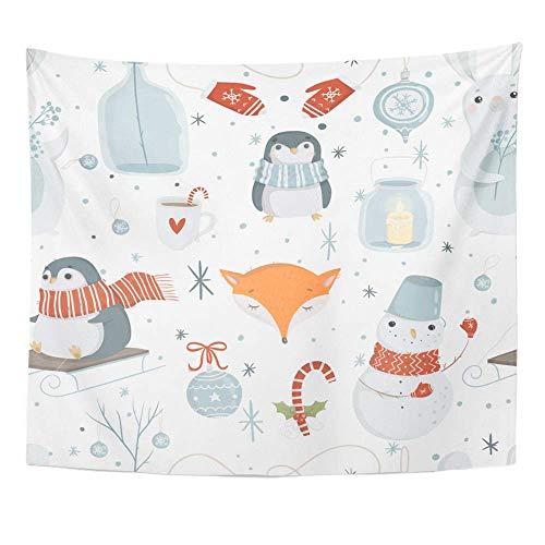 Tapisserie Polyester Stoff Print Home Decor Winter und Weihnachten helle niedliche Pinguine Schneemann Tasse heiße Schokolade Fox Wandbehang Tapisserie für Wohnzimmer Schlafzimmer Schlafsaal (Heißes Schokolade-schneemann -)