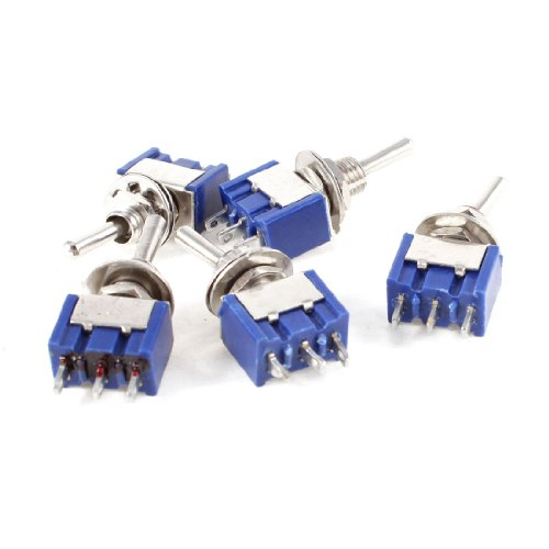 5 Pcs Azul AC 125V 6A 3-Pin SPDT On/Off/On 3 Posición Mini...