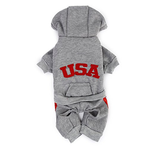 Imported USA Cotton Coat Jacket Hoodie Jumpsuit Small Boy Girl Dog Clothes M Grey